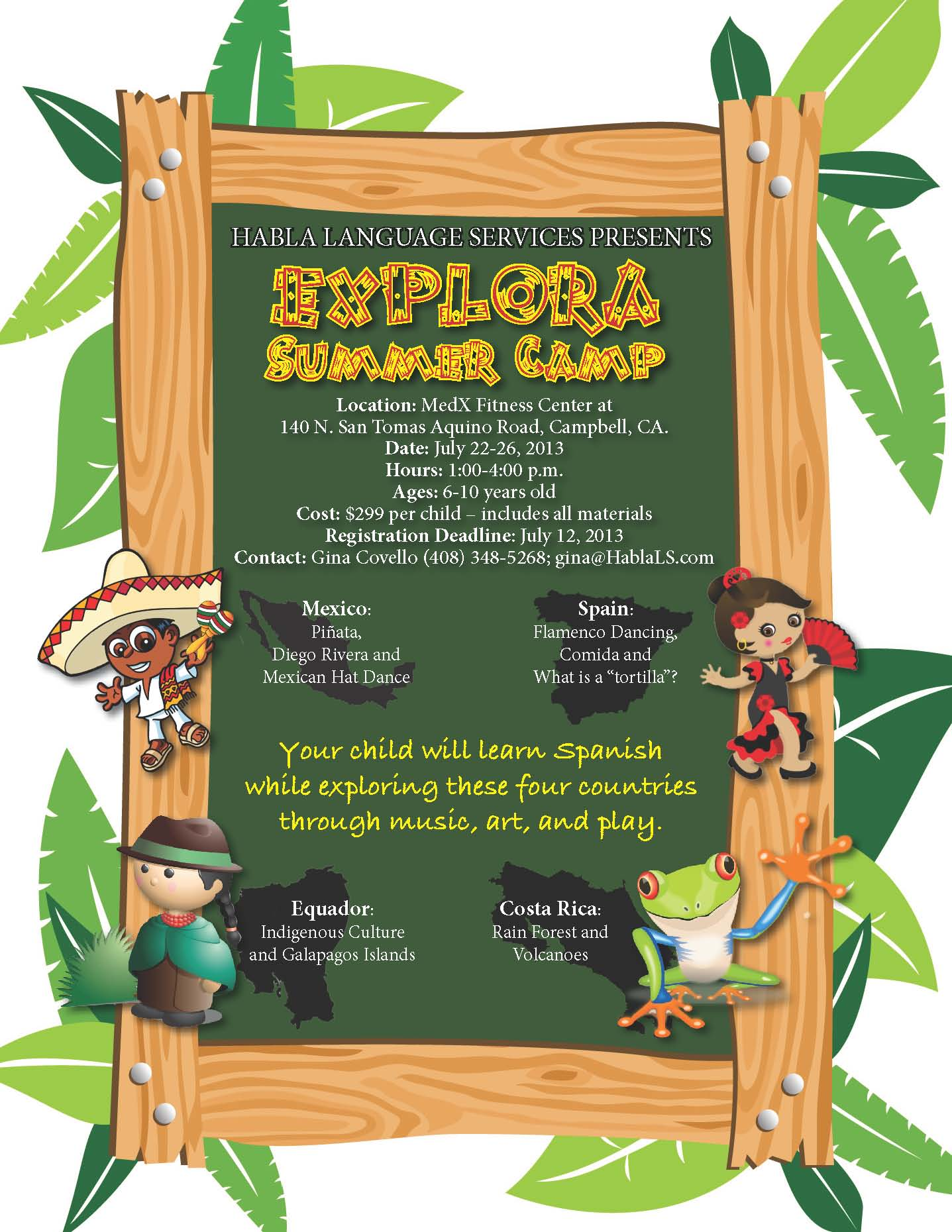 Spanish for kids, Summer Camp Campbell, Summer Camp San Jose